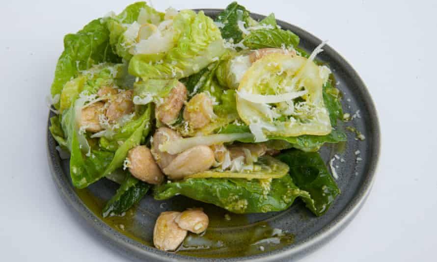 'This salad isn't just dressed, it is catwalk-styled and accessorised': little gem salad.