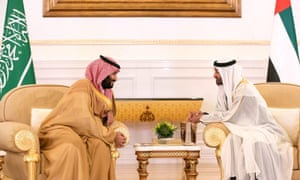 Saudi Crown Prince Mohammed bin Salman (left) meets with Sheikh Mohamed bin Zayed al-Nahyan, crown prince of Abu Dhabi and deputy supreme commander of the UAE Armed Forces.
