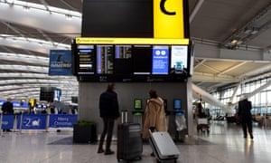 Passengers at Heathrow airport.