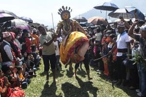 Khokana, Nepal. A Hindu devotee dressed as a deity joins Shikali Jatra festival celebrations on the outskirts of Kathmandu
