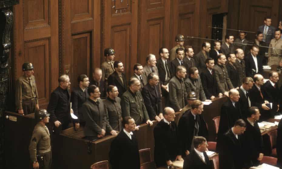 Defendants in their dock at the Nuremberg Trials November 1945 - October 1946.
