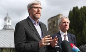 Sinn Féin's John O'Dowd and Máirtín Ó Muilleoir talk to the media following talks aimed at restoring power sharing in Northern Ireland.