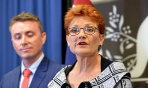 Pauline Hanson, with James Ashby by her side, defends One Nation following al-Jazeera's undercover investigation