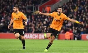 Raúl Jiménez celebrates his second goal for Wolves against Southampton.