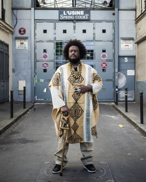 Jazz musician Kamasi Washington photographed in the Belleville 11th arrondissement of Paris
