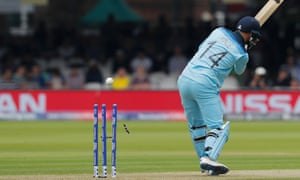 James Vince is clean bowled for 0 by Australia's Jason Behrendorff at Lord's.