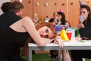Woman looking bored at a party