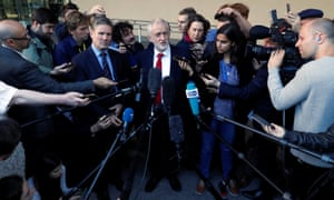 Jeremy Corbyn speaking to reporters after his meeting with Michel Barnier.