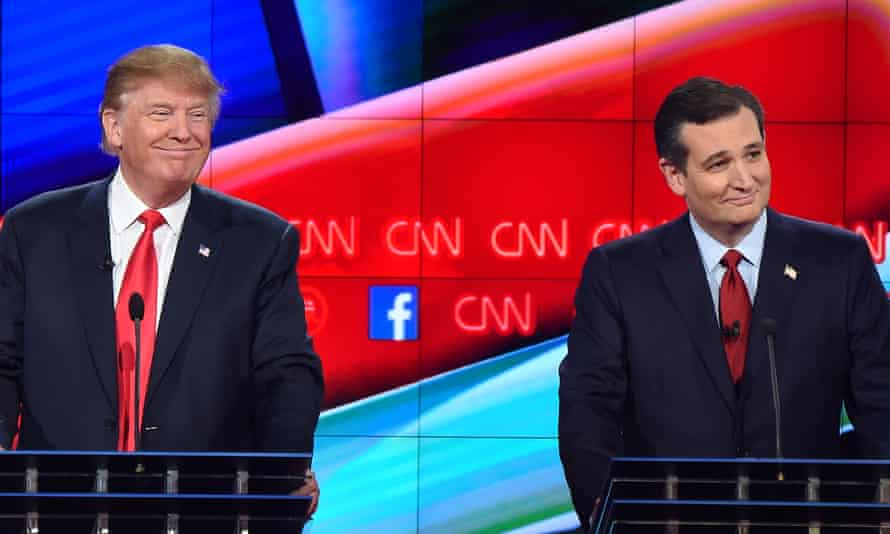 The two leading Republican presidential hopefuls Donald Trump, left, and Ted Cruz on stage at the Republican presidential debate at The Venetian Las Vegas in Las Vegas, Nevada.