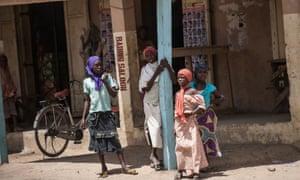 Girls in Chibok, north-eastern Nigeria, where Boko Haram kidnapped 276 teenagers two years ago.