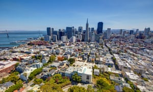 An aerial view of San Francisco. One of the greenest cities in the US is facing a major threat from global warming.