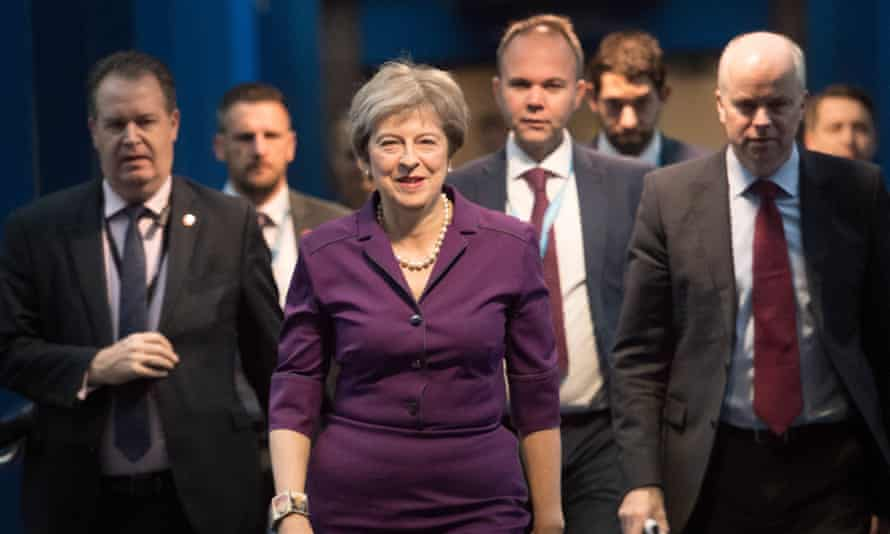 Theresa May arrives at the Conservative conference.