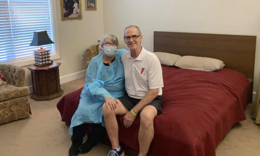 Mary Daniels got a job as a dishwasher just so she could visit her husband Steve who lives in a nursing home in Jacksonville, Florida.