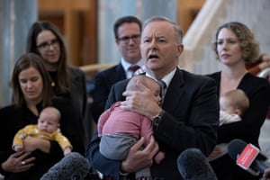 Opposition leader Anthony Albanese holds 3 month Benedict Keogh, the son of WA Labor MP Matt Keogh at a press conference