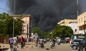 Black smoke rising during multiple terrorist attacks on the capital of Burkina Faso in March 2018.