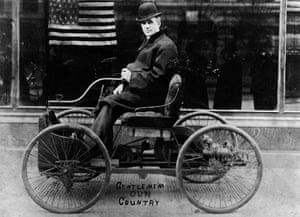 Henry Ford in his first car, built in 1896.
