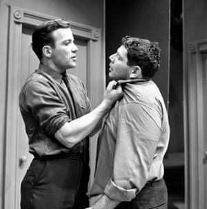 Brooklyn-born Jerry Stiller began to appear on TV as an actor in the late 1950s. Here he is, on the right, with William Shatner in a CBS TV programme, Lamp Unto My Feet, in 1962.