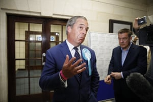 Brexit Party leader Nigel Farage reacts after the European Parliament election results for the UK South East Region are announced at the Civic Centre Southampton, Southern England, on May 26, 2019.