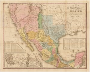 1846 map of the United States and Mexico showing the island of Bermeja