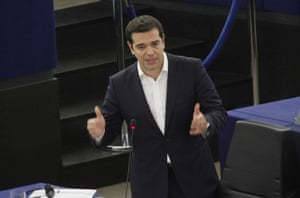 Greek Prime Minister Alexis Tsipras gestures as he speaks in the plenary hall at the European Parliament on July 8, 2015 in Strasbourg, France.