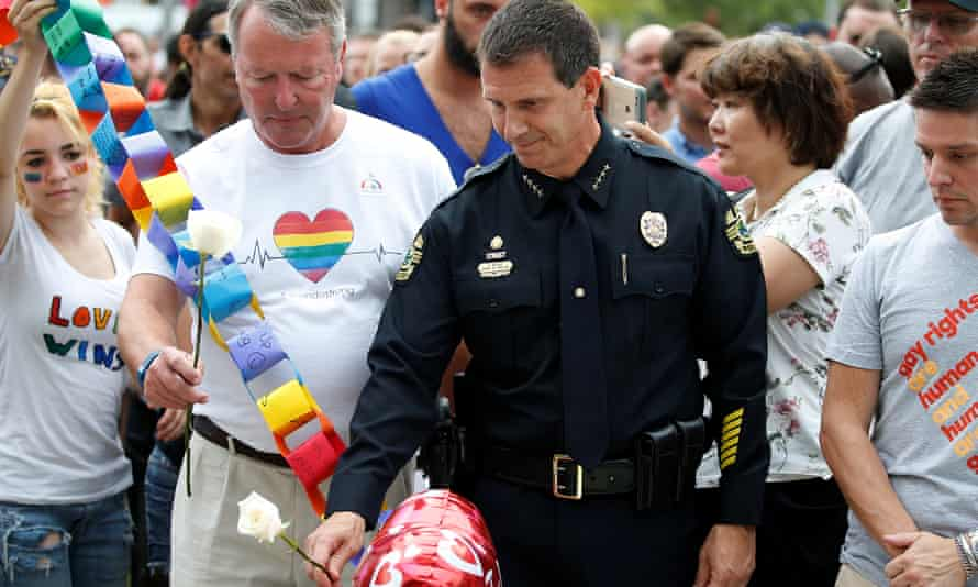 Orlando mayor Buddy Dyer and police chief John Mina at a memorial service for victims
