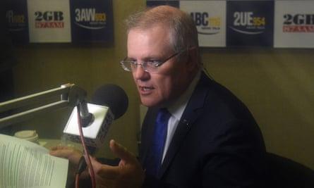 Federal treasurer Scott Morrison at a radio interview