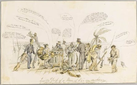 An 1832 drawing of Darwin and the crew of the HMS Beagle