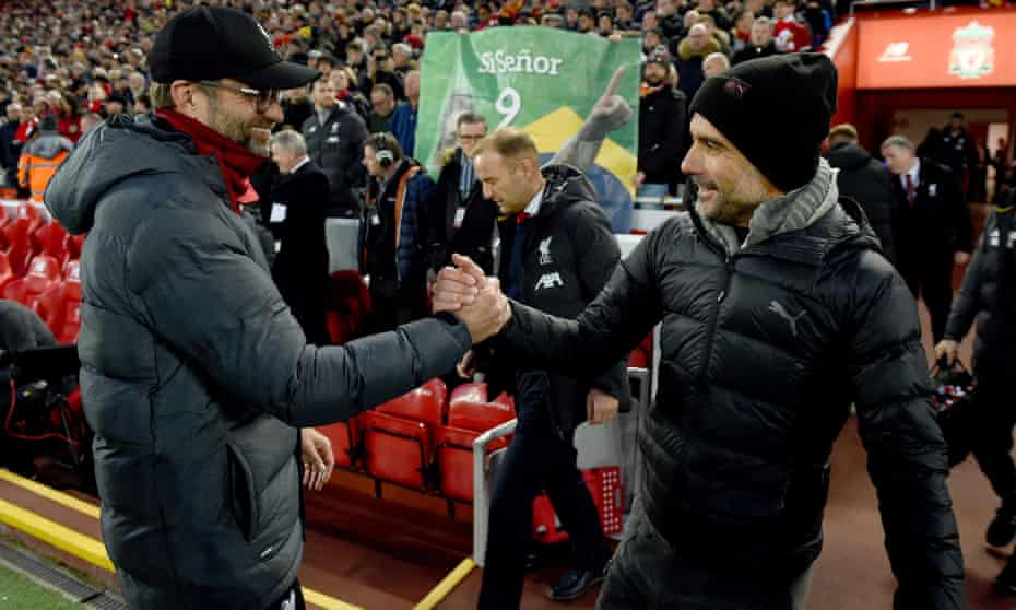 Jürgen Klopp (left) and Pep Guardiola before Liverpool's 3-1 win over Manchester City at Anfield in November.