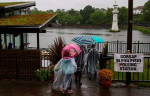 People vote at Roath Park Lake in Cardiff.
