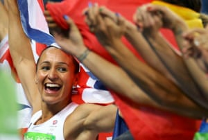 Jessica Ennis-Hill celebrates her silver medal