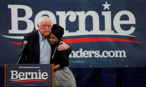Sanders and Omar campaigning for Bernie's 2020 run, i Manchester, New Hampshire earlier today