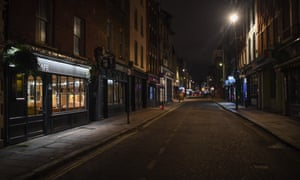 Deserted nightspots on an empty street in Soho, London, on 21 November.