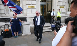 Geoffrey Cox, the attorney general, leaving the Cabinet Office after the first meeting of the new exit strategy committee, known as XS.