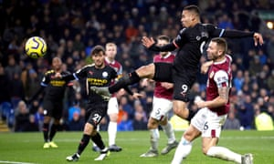 Manchester City's Gabriel Jesus volleys his second goal in the comfortable victory at Burnley.