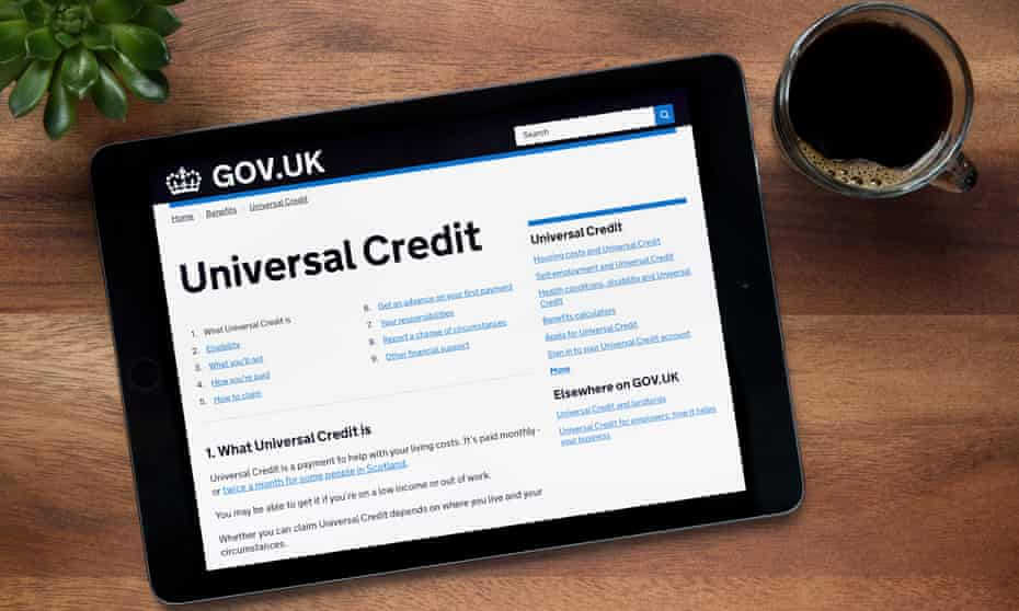 Universal credit section of the gov.uk website on an iPad