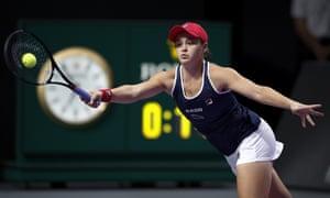 Ashleigh Barty breaks Kvitova at the start of the second set.