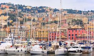 Genoa's Porto Antico with sailing boats