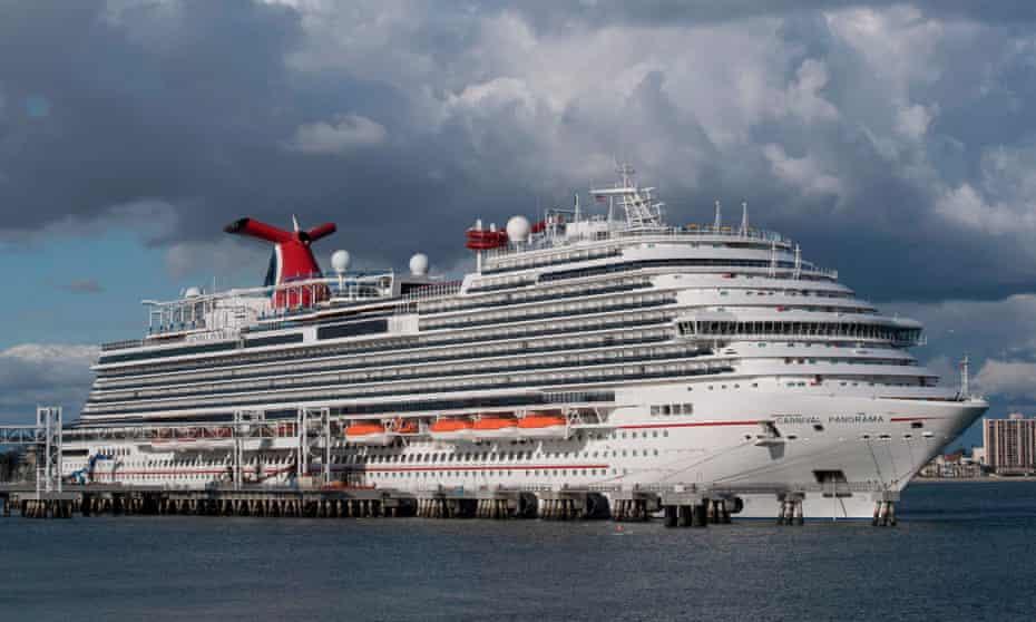 A Carnival Panorama cruise ship docks at Long Beach, California.