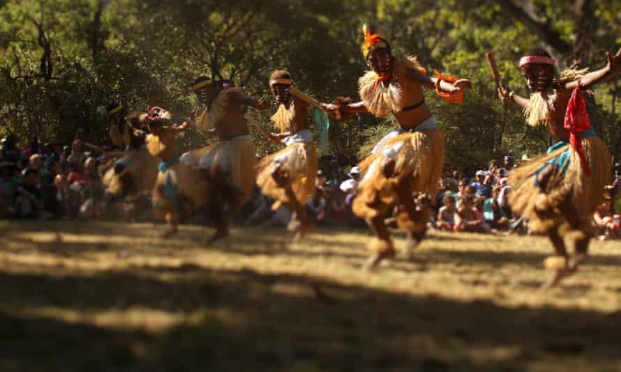 Dancers perform during the Laura Aboriginal Dance Festival on June 18, 2011 in Laura, Australia.