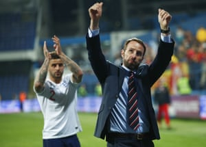 England Manager Gareth Southgate and Kyle Walker thank the travelling fans