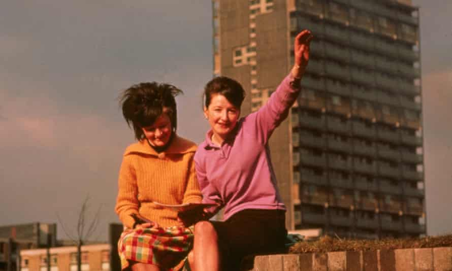 Glasgow, 1965: teenage girls in front of one of the newly built council housing blocks that replaced the slums of the Gorbals