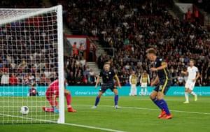 Mergim Vojvoda scores an own goal and England's third.