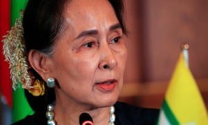 Myanmar leader Aung San Suu Kyi delivers a speech at the Akasaka palace in Tokyo, Japan on Tuesday.