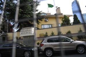 Saudi Arabia flags flying at the top of the consulate building in Istanbul as diplomatic vehicles are expected on November 1