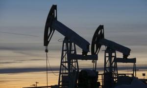 An oil well pump jacks in Siberia