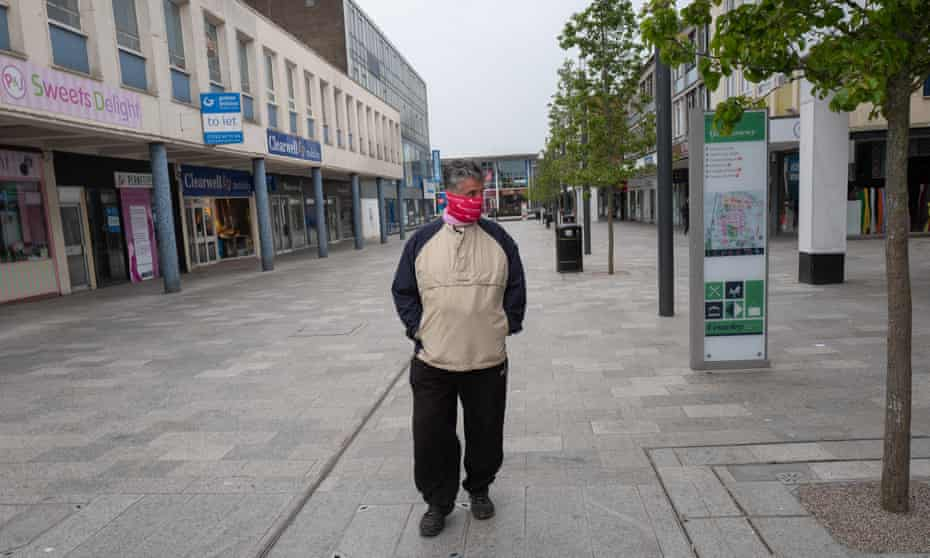 A lone shopper in Crawley, West Sussex, where thousands of jobs are feared to be at risk due to coronavirus.