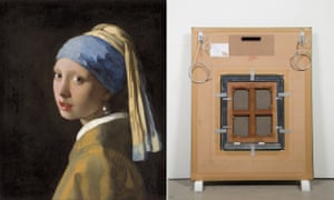 Johannes Vermeer's Girl with a Pearl Earring (1665) and Vik Muniz's replica of its back for his Verso exhibition (2016).