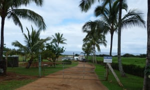 The road into Facebook CEO Mark Zuckerberg's 700-acre estate on Kauai, the center of hundreds of 'quiet-title' suits against Hawaiians over land.