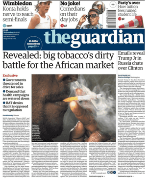 Guardian front page, 12 July.