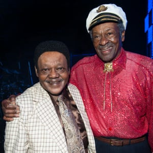 Domino and Chuck Berry backstage at New Orleans Arena in 2009
